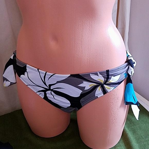 Jag bikini swim bottom black hipster women swimwear nwt new Size L Large W// Tie